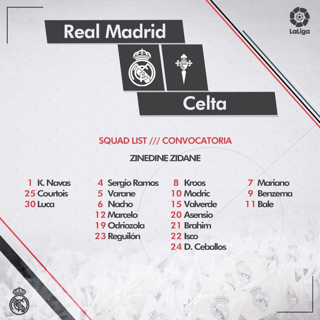 La lista de convocados de Real Madrid para el choque ante Celta de Vigo.
