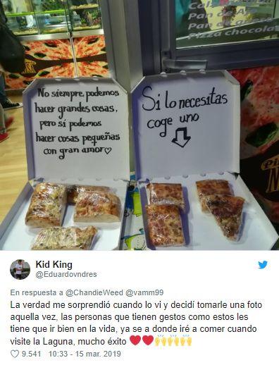 Un joven quedó impactado con el noble accionar de la dueña de la pizzería. (Foto: captura Twitter)