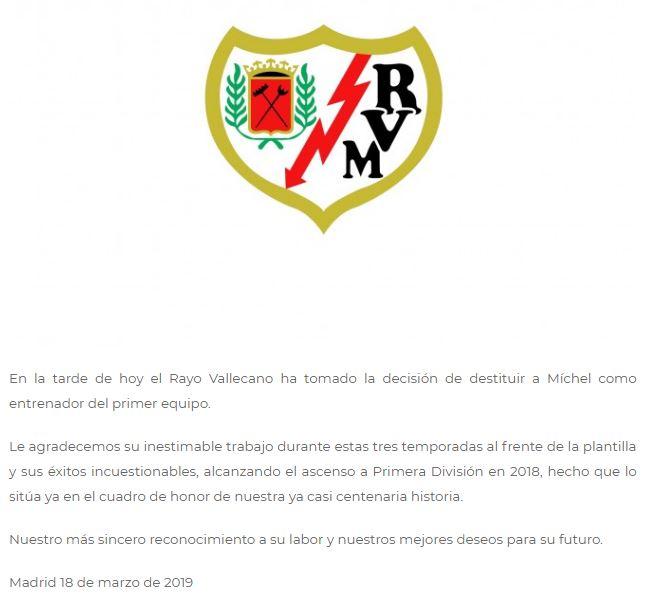 Rayo Vallecano y el comunicado del despido de Míchel. (Foto: Difusión)