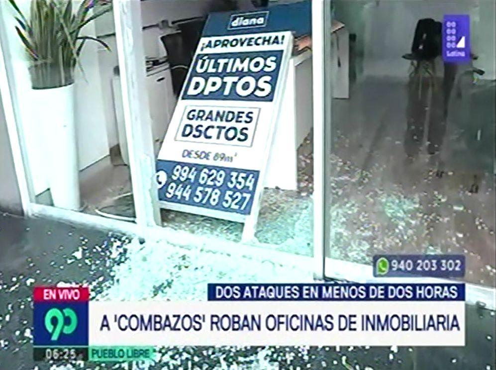 Oficinas de la inmobiliaria 'Diana' también fue asaltada con la modalidad del 'combazo' (Captura: Latina)