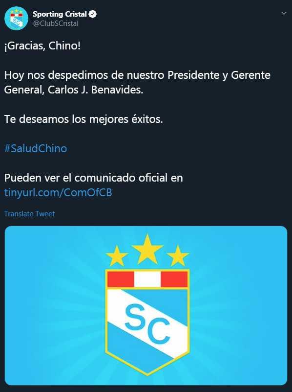 Carlos Benavides renunció a la presidencia de Sporting Cristal. (Foto: GEC)