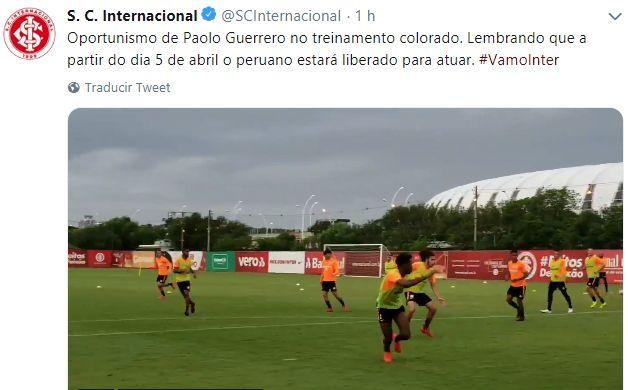 Internacional recordó fecha de regreso de Paolo Guerrero.