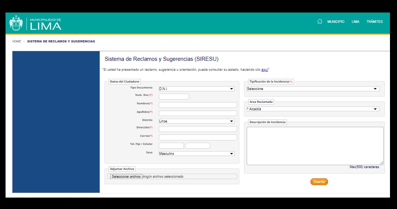 El ciudadano que utiliza este servicio vía web solo tiene que colocar sus datos personales y la descripción de la incidencia (Captura: Portal de la MML)
