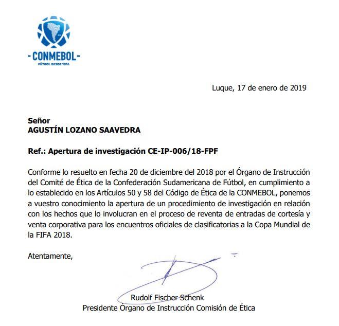 Esta es la carta que envió la Conmebol a Agustín Lozano