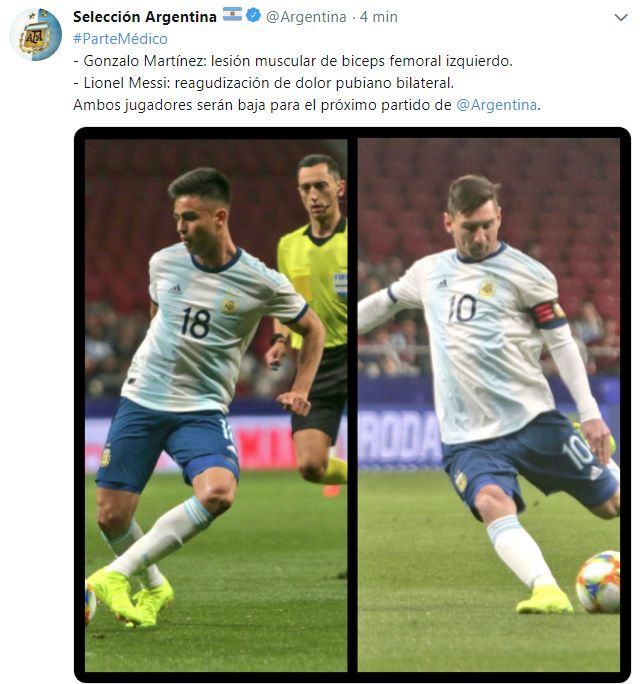 Argentina no concará con Lionel Messi ni con Gonzalo Martínez para el amistoso ante Marruecos.