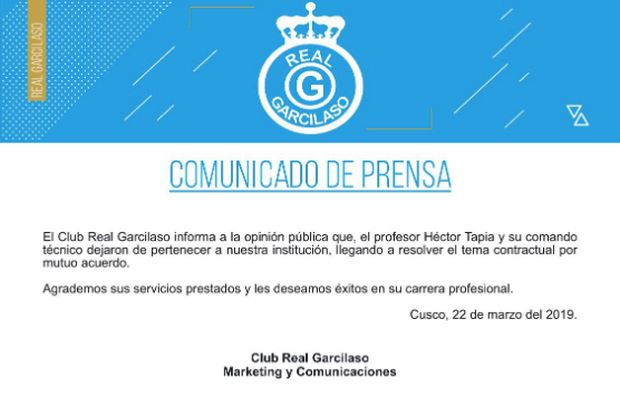 Comunicado Real Garcilaso sobre la salida de Héctor Tapia.