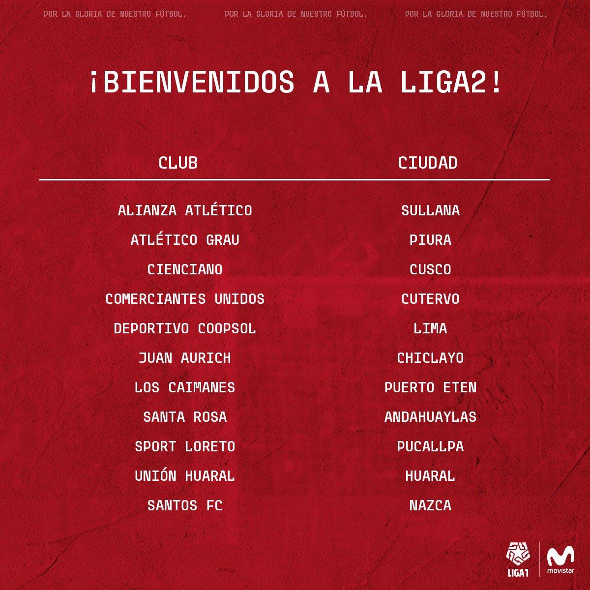 Los clubes participantes de la Liga 2. (Foto: Liga 1)