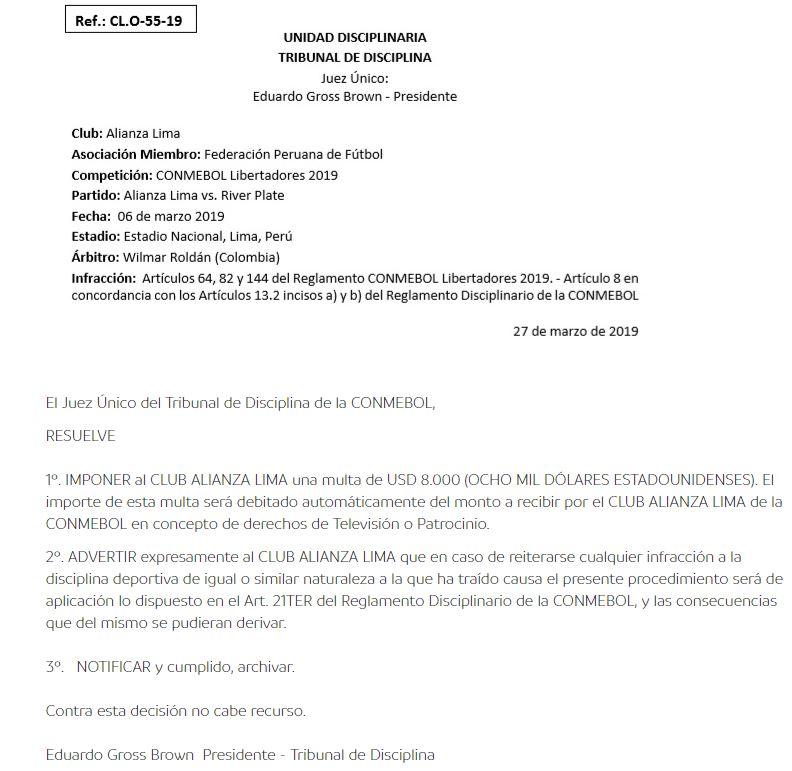 Conmebol y su fallo contra Alianza Lima