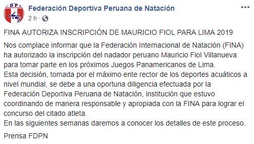 Mauricio Fiol podrá participar en los Juegos Panamericanos. (Foto: Facebook captura)