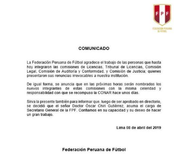 FPF agradeció a los miembros renunciantes de las comisiones consultivas.