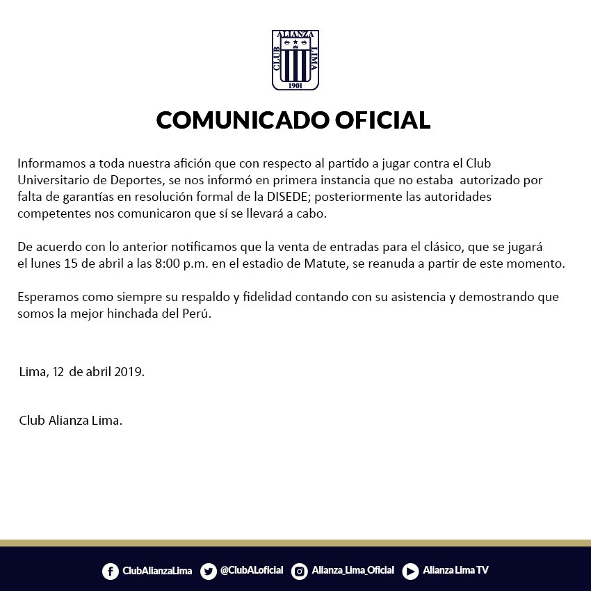 Alianza Lima anuncia reanudación de venta de entradas para el clásico. (Foto: Twitter @ClubALoficial)