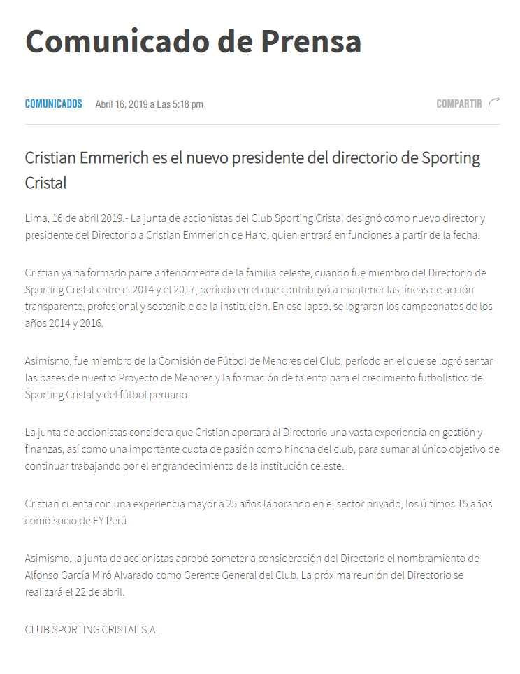 Sporting Cristal tiene nuevo presidente de Directorio. (Foto: GEC)
