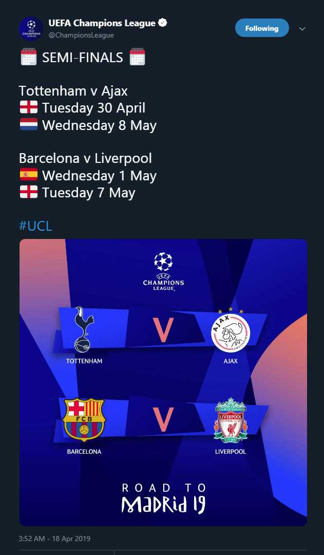 Así quedaron los emparejamientos de las semifinales de la Champions League. (Foto: Champions League)