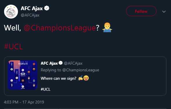 La publicación en el Twitter de Ajax.