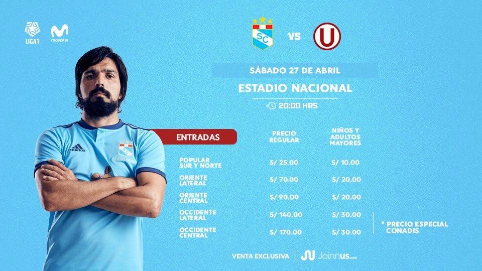 estos son los precios de las entradas para el Sporting Cristal vs. Universitario de Deportes. (Foto: Twitter Joinnus / Sporting Cristal)