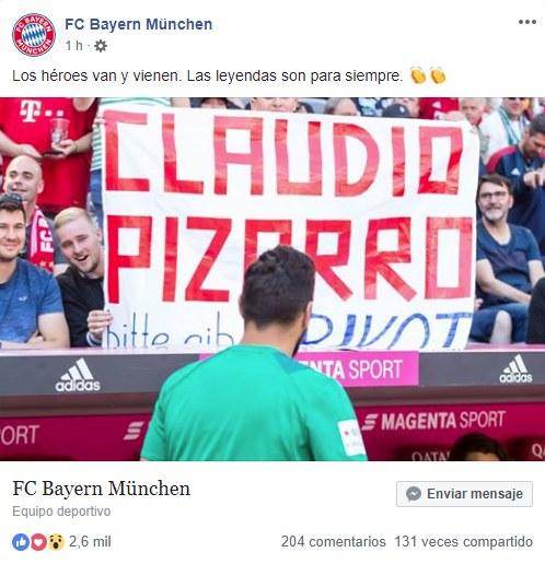 La publicación dedicada a Claudio Pizarro. (Foto: Facebook de Bayern Munich)