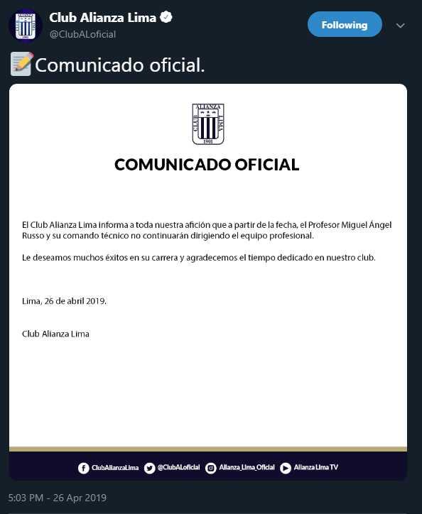 Alianza Lima se pronunció de forma oficial sobre la salida de Miguel Ángel Russo