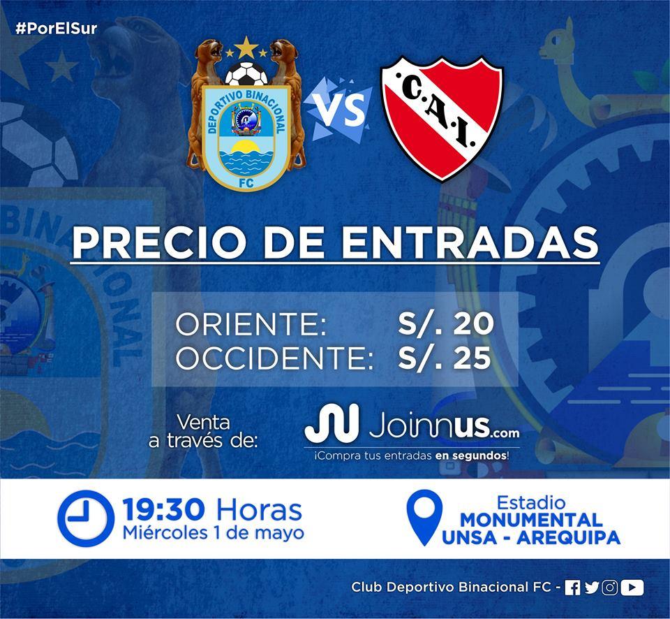 Binacional vs. Independiente disputarán el pase a la segunda ronda de la Copa Sudamericana,. (Foto: Binacional)