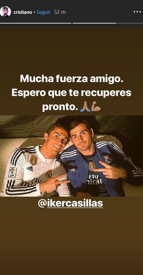 La publicación de Cristiano Ronaldo dedicada a Iker Casillas. (Foto: captura de Instagram)