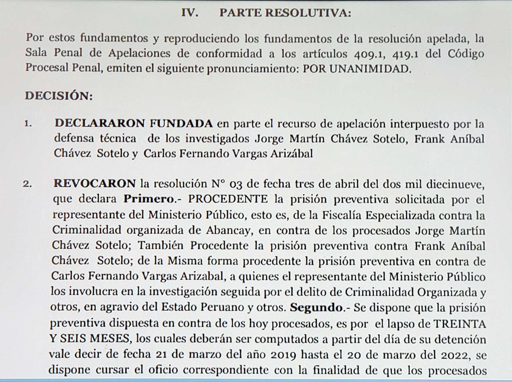 Esta es la resolución que ordenó la libertad de los hermanos Chávez Sotelo. (Foto: Difusión)