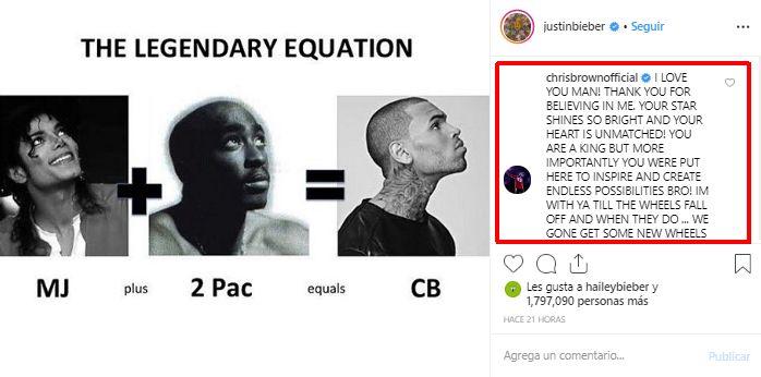 Así respondió Chris Brown a la publicación de Justin Bieber. (Foto: Captura de Instagram)