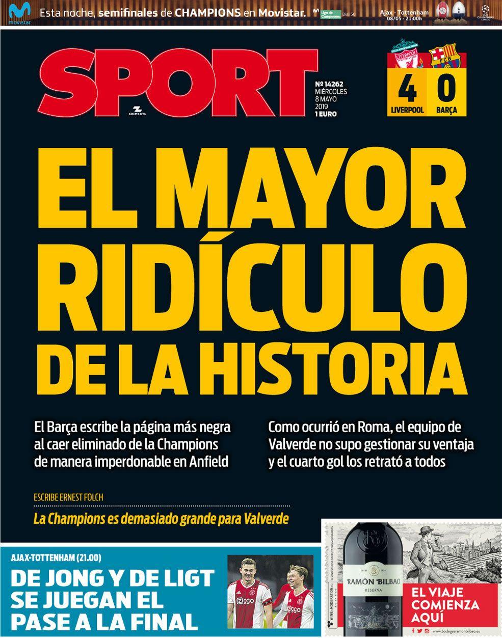 La portada del miércoles del diario Sport.