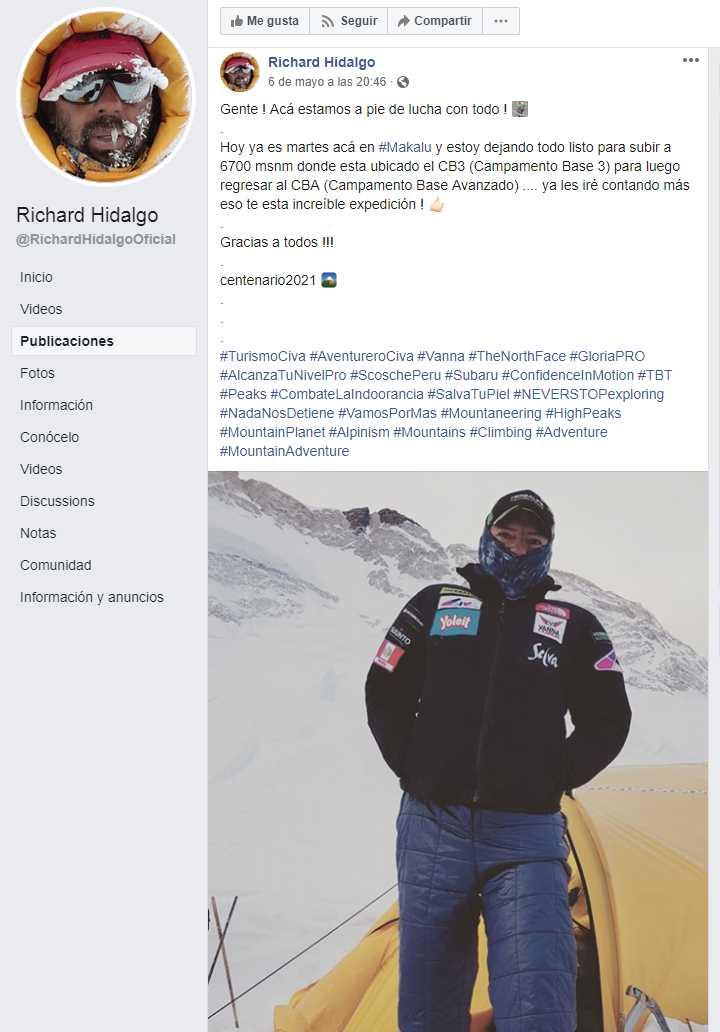 El aplinista peruano Riochard Hidalgo hizo una actualización de su última aventura, días antes de fallecer. (Foto: Facebook Richard Hidalgo)