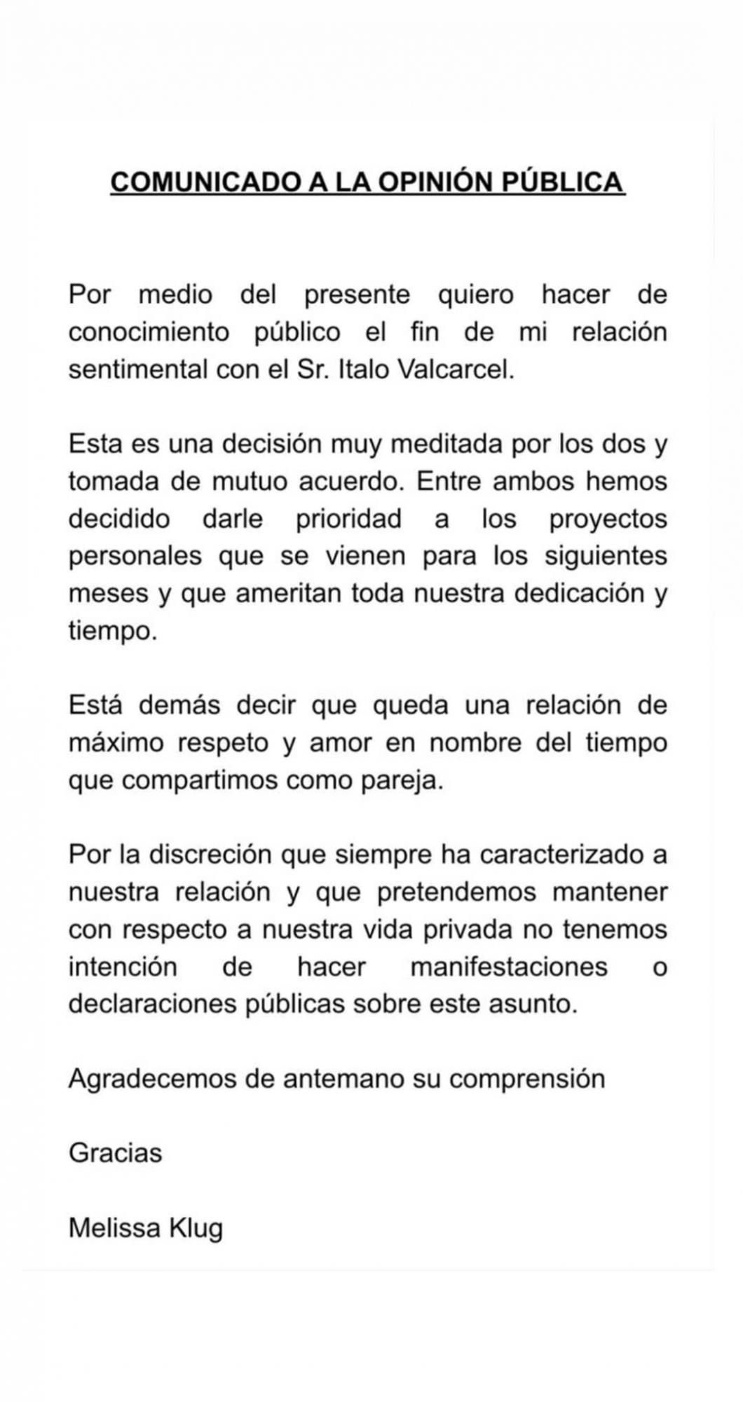 Melissa Klug anuncia el fin de su relación con Ítalo Valcárcel en Instagram. (Foto: Instagram)
