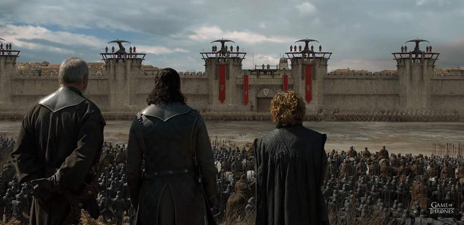 Davos, Jon y Tyrion en las puertas de la Fortaleza Roja (Foto: HBO)
