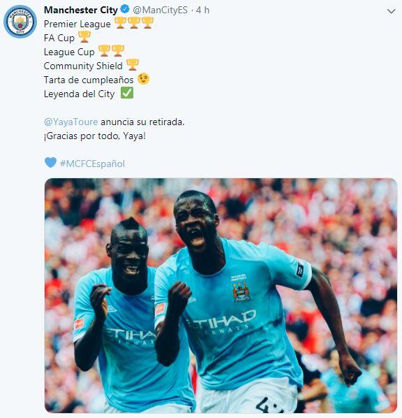 Manchester City y su mensaje a Yaya Touré. (Foto: Twitter)