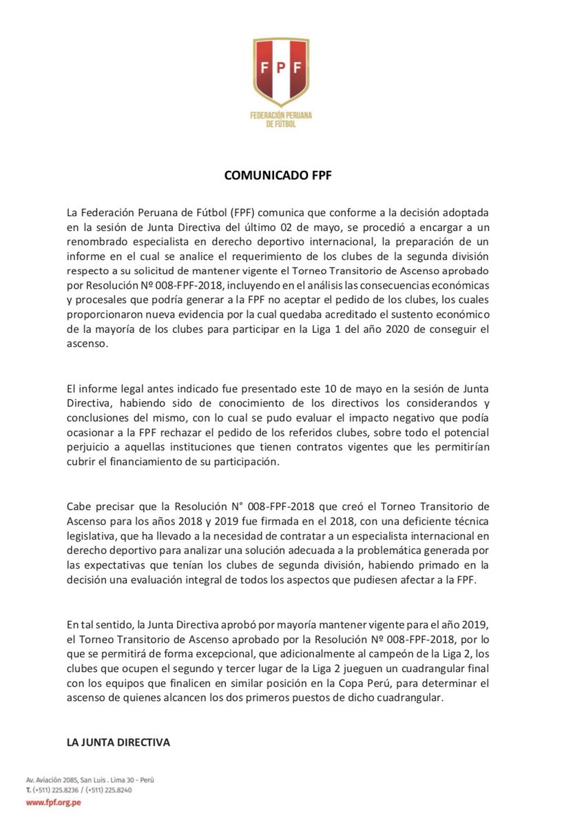 Este es el comunicado de la FPF en el que confirma que las exigencias de la Liga 2 fueron atendidas. (Foto: Twitter @TuFPF)