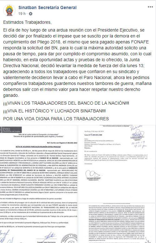 (Foto: Captura de Facebook Sinatban Secretaría General)