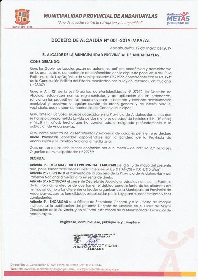Declaratoria de duelo provincial en Andahuaylas.