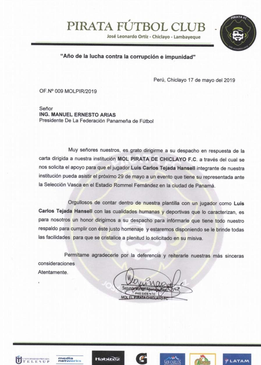 La respuesta de Pirata FC sobre el permiso a Luis Tejada.