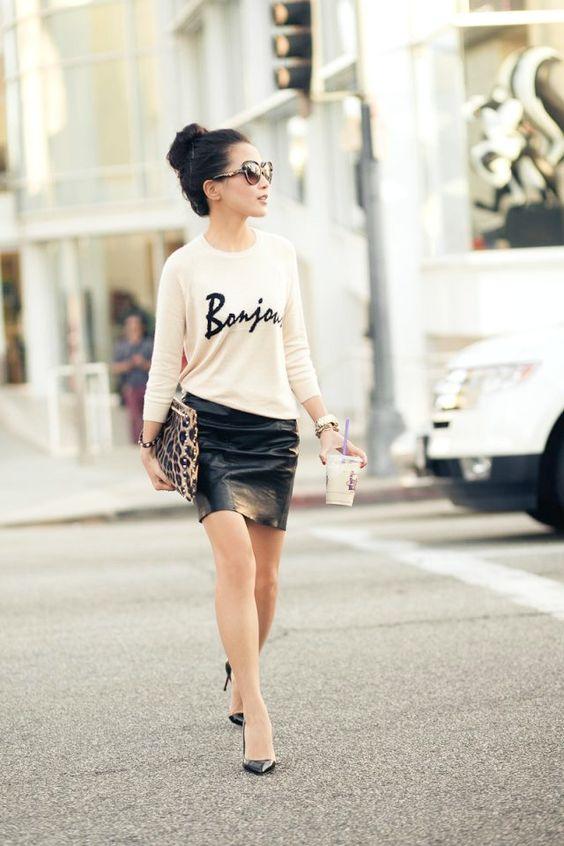 Las faldas de cuero son las mejores piezas para lograr un bonito oufit. (Foto: Pinterest Bonitos disenos)