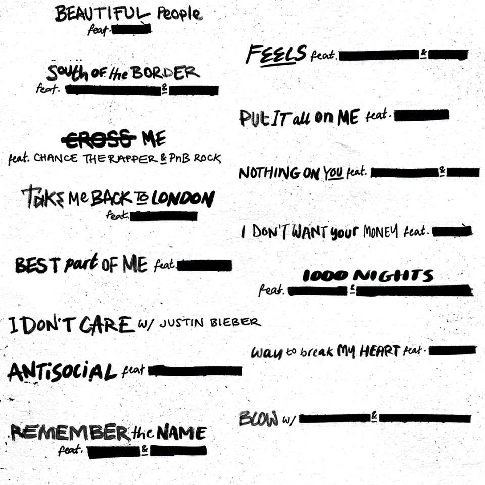 Nombres de las canciones del nuevo disco de Ed Sheeran (Foto: @EdSheeranMusic)