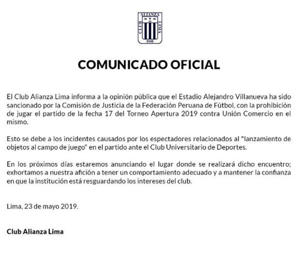 Comunicado de Alianza Lima sobre su última sanción ante la FPF.