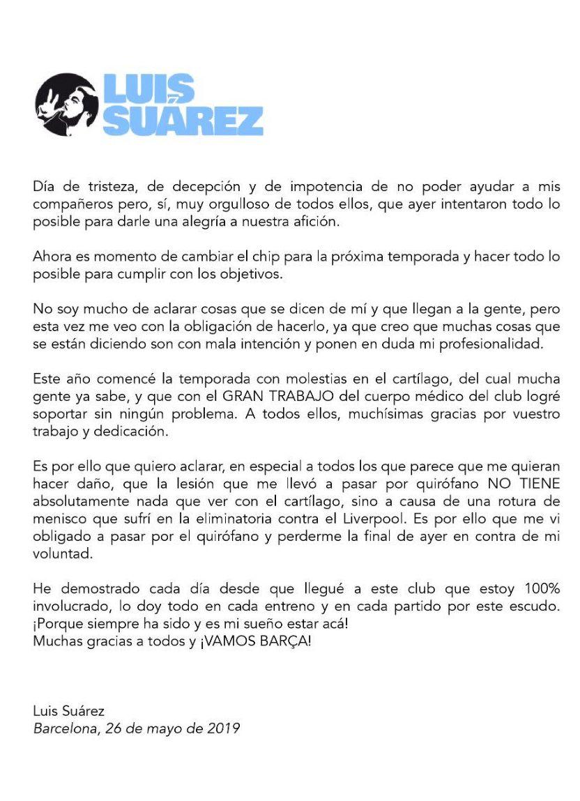 El comunicado de aclaración de Luis Suárez por su operación de rodilla.