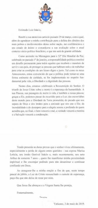 Carta del Papa Francisco a Lula da Silva. (Foto: institutolula.org)