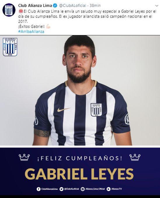 El saludo de Alianza Lima a Gabriel Leyes. (Foto: Alianza Lima)