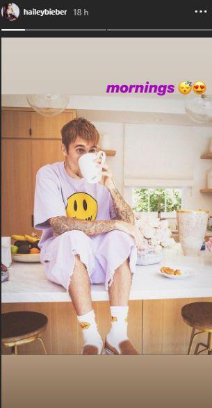 Hailey Baldwin comparte tierna fotografía de Justin Bieber en pijama. (Foto: Captura de Instagram)