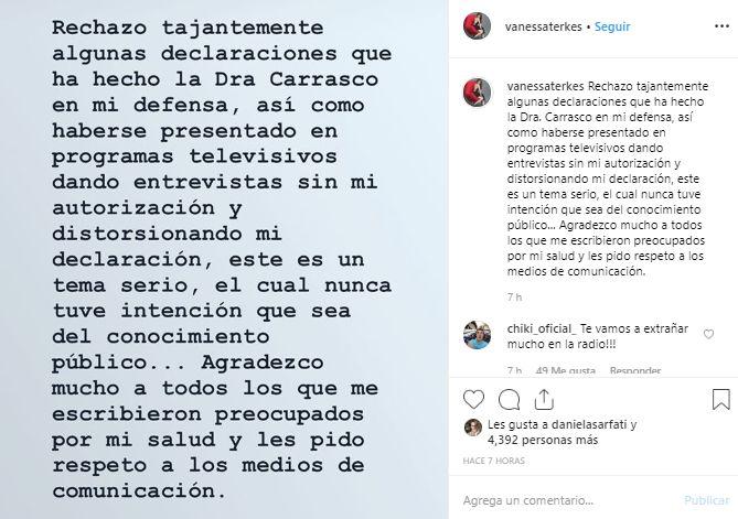 Vanessa Terkes rechazó las declaraciones de su abogada y dijo que habría distoricionado sus manifestaciones. (Foto: Instagram)