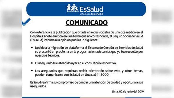 Comunicado de EsSalud respecto al caso de a cita programada para el 2020.