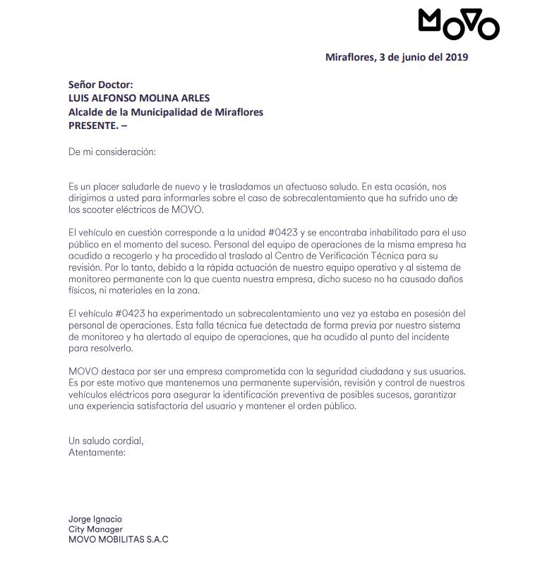 Comunicado emitido por la empresa Movo tras incidente.