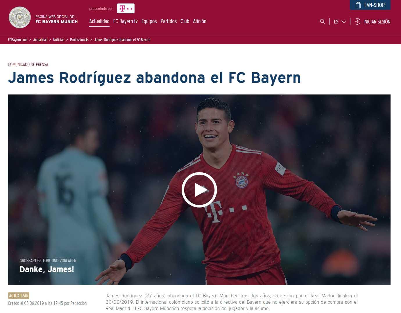 Así despidió Bayern Múnich al colombiano. (Captura: Bayern Múnich)