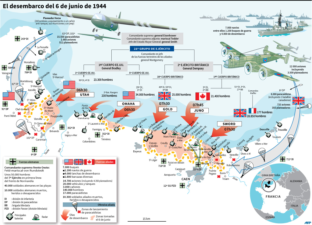 Mapa con las operaciones del desembarco aliado del 6 de junio de 1944 en las playas de Normandía. (AFP)