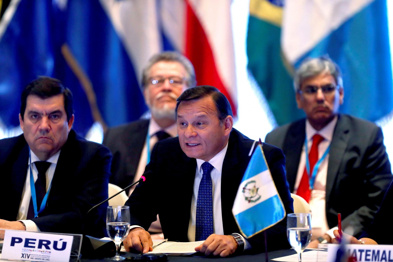 Néstor Popolizio, se expresa durante la reunión de cancilleres del Grupo de Lima. (Foto: AFP)
