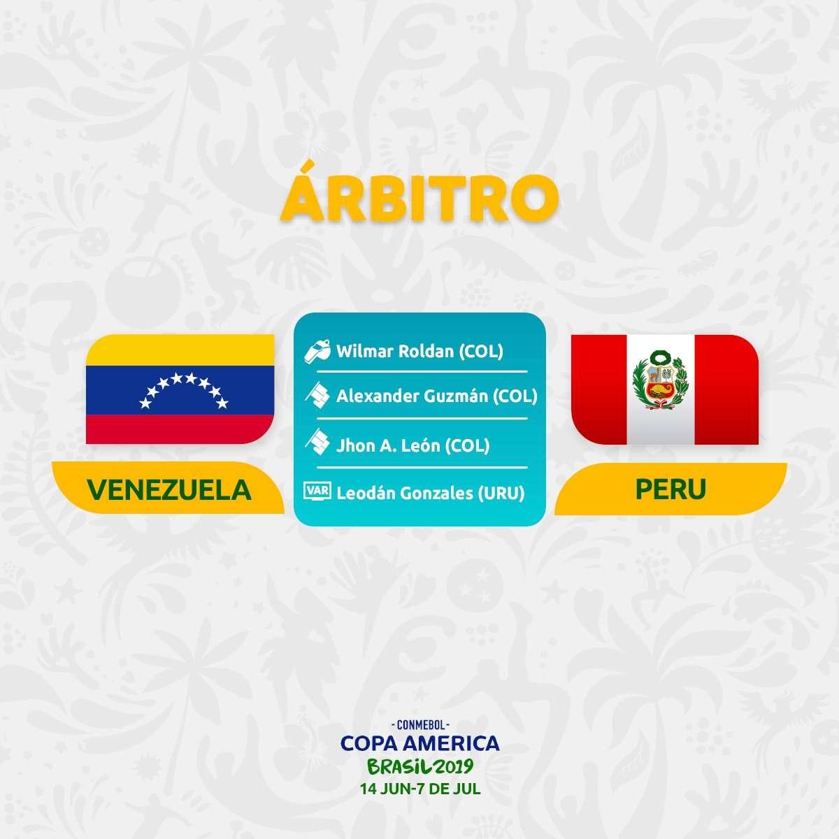 La terna del Perú vs. Venezuela del sábado 15 de junio. (Foto: @CopaAmerica)