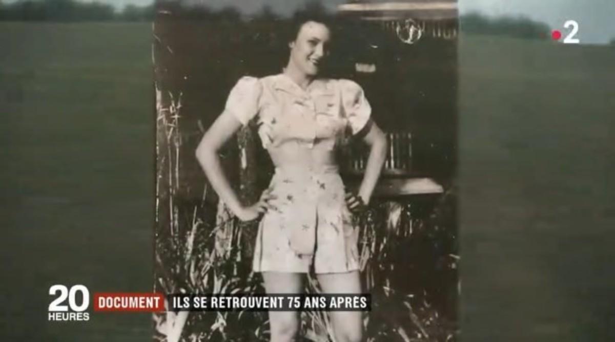 Jeannine Ganaye a los 18 años en su pueblo en Francia. (France 2)