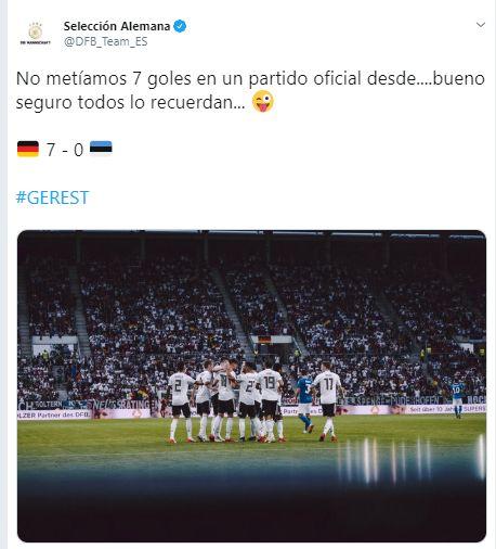 La publicación en la cuenta de Twitter de la selección de Alemania.